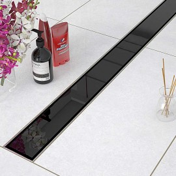 Odpływ liniowy Sanitline szklany model Black Glass 70 cm syfon niski 52 mm