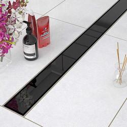 Odpływ liniowy Sanitline szklany model Black Glass 90 cm syfon niski 52 mm