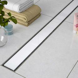 Odpływ liniowy Sanitline szklany model White Glass 80 cm syfon niski 52 mm